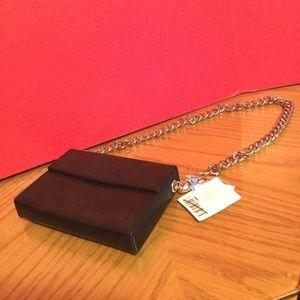 NWT Urban Outfitters black clutch purse 4x6 silver